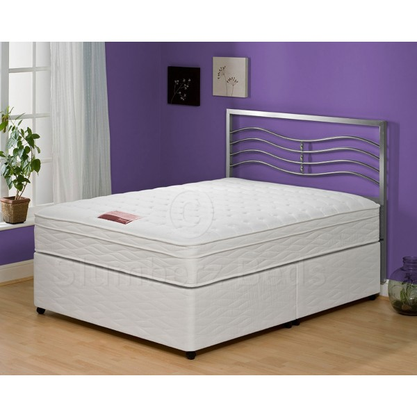 ... Exclusive Divan Bed Pillow Top Memory Foam Mattress + Headboard
