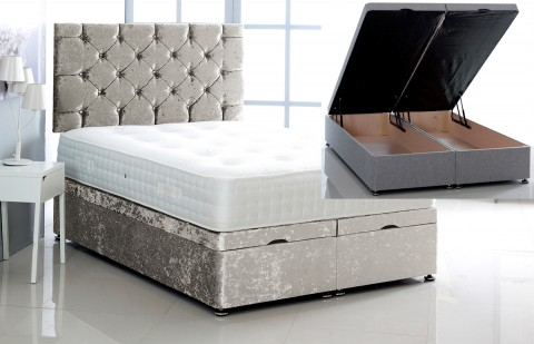 Alexis Ottoman Storage Divan Base and Headboard in Crushed Velvet Free Delivery