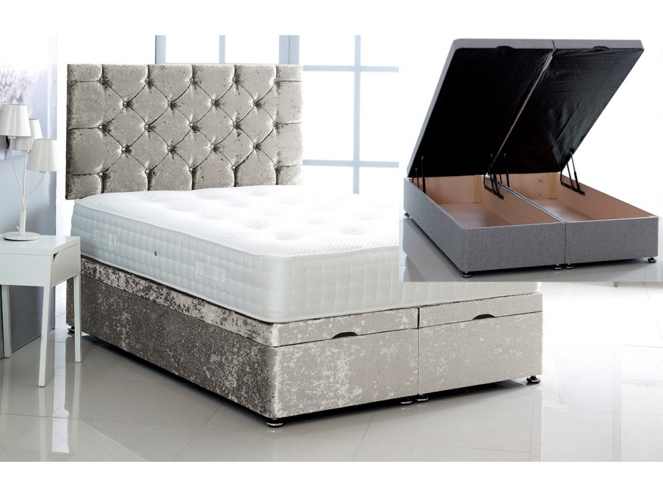 Alexis Ottoman Storage Divan Base And Headboard In Crushed
