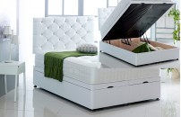 Alexis Ottoman Storage Divan Base and Headboard in Faux Leather Free Delivery