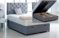 Alexis Ottoman Storage Divan Base and Headboard in Linen Free Delivery