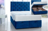 Alexis Ottoman Storage Divan Base and Headboard in Velvet Free Delivery