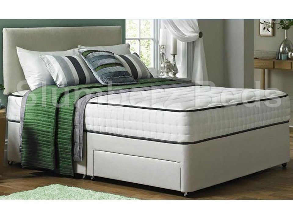 Double divan offer 2 drawer divan bed memory foam for Small double divan bed with headboard