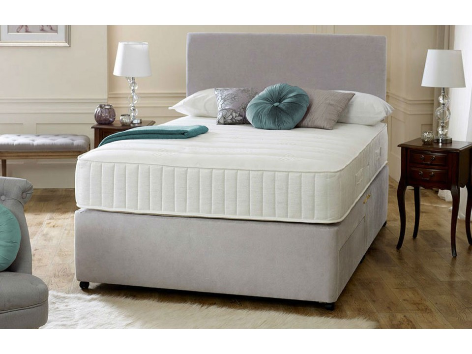 Fabric divan memory foam with headboard for Small double divan bed with headboard