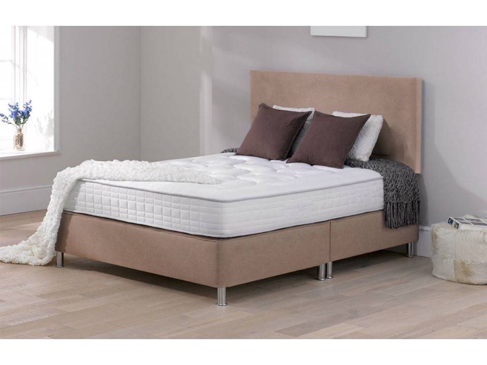 Low fabric divan memory foam with headboard for Small double divan bed with headboard