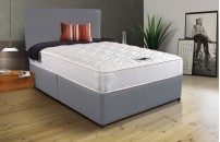 Double 2 Drawer Divan Grey Fabric Memory Foam With Headboard
