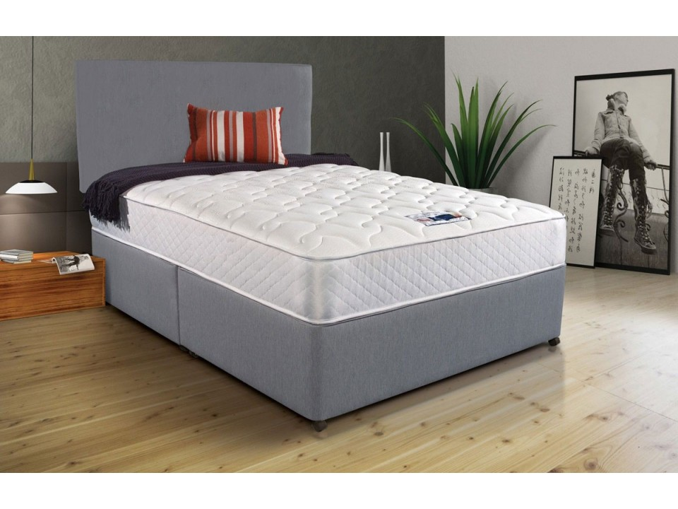 Grey fabric divan bed memory foam free headboard for Divan king bed
