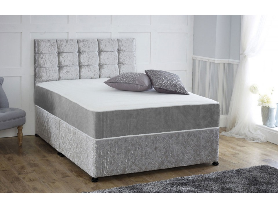Coil sprung crushed velvet orthopaedic divan bed with for Sprung divan bed