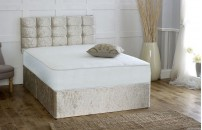 Double or Small Double Pocket Sprung Memory Foam Crushed Velvet Divan Bed 1Q + Headboard Free Delivery
