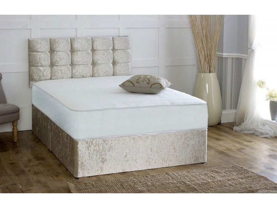 Pocket sprung memory foam crushed velvet divan bed with for Divan headboard