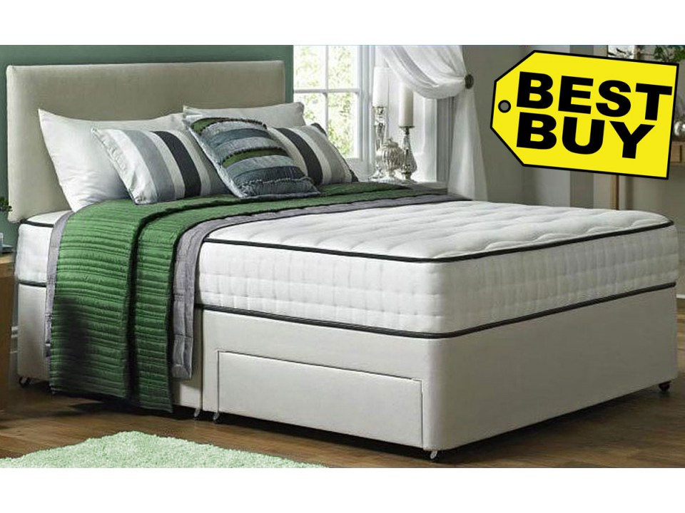 Faux Suede Divan Bed And Memory Foam Mattress Set Promo