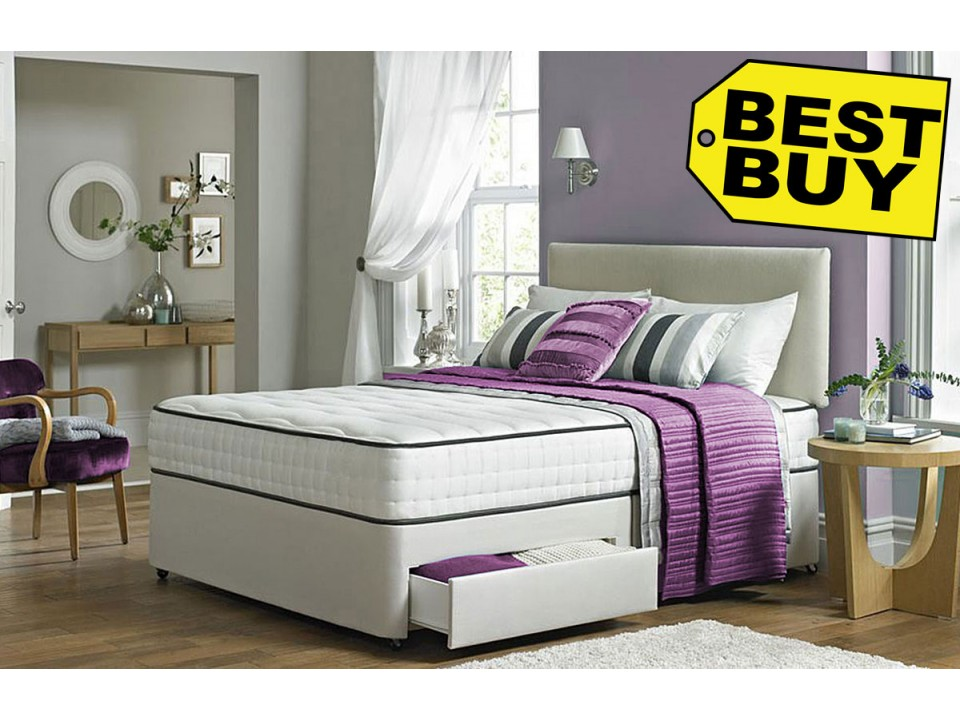 Double divan 2 drawer divan bed memory foam mattress and for Divan bed offers