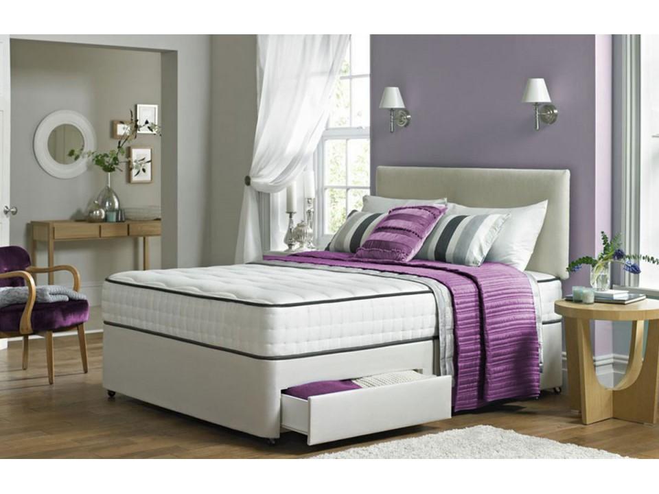 Kingsize Promo 2000 Pocket Memory Foam 2 Drawer Divan Bed And Headboard