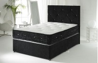 Double Divan BLACK 2000 Pocket 2 Drawer Divan Bed Mattress and Headboard