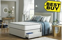 Faux Suede Divan Bed and Orthopaedic Mattress Set