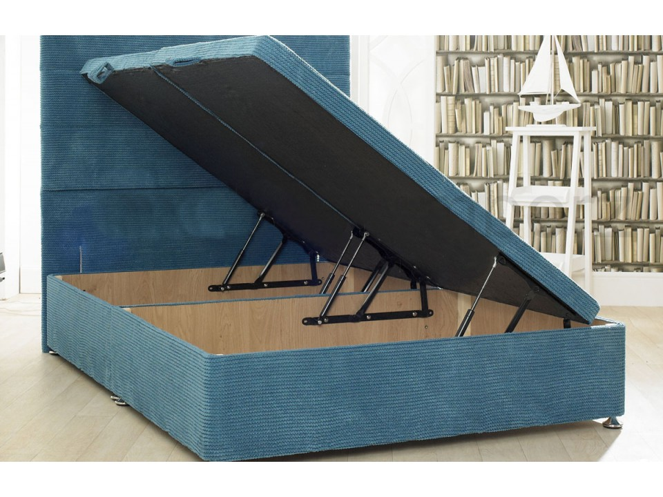 Ottoman storage divan base with 10 ribbed colour options for 2 6 divan with storage