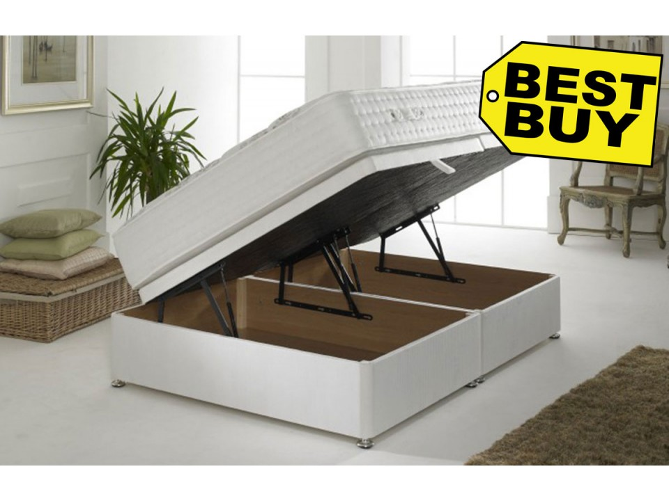 Ottoman storage premium divan base in cotton cover with 4 for Divan base cover