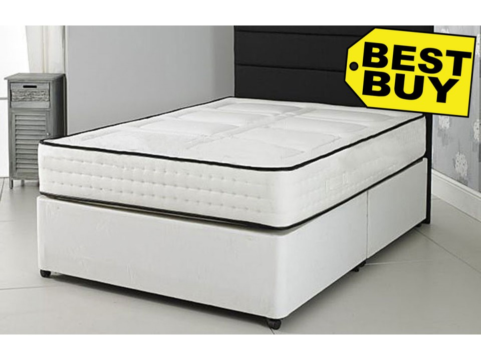 Value 1500 pocket sprung divan bed and memory foam for Divan bed with memory foam mattress