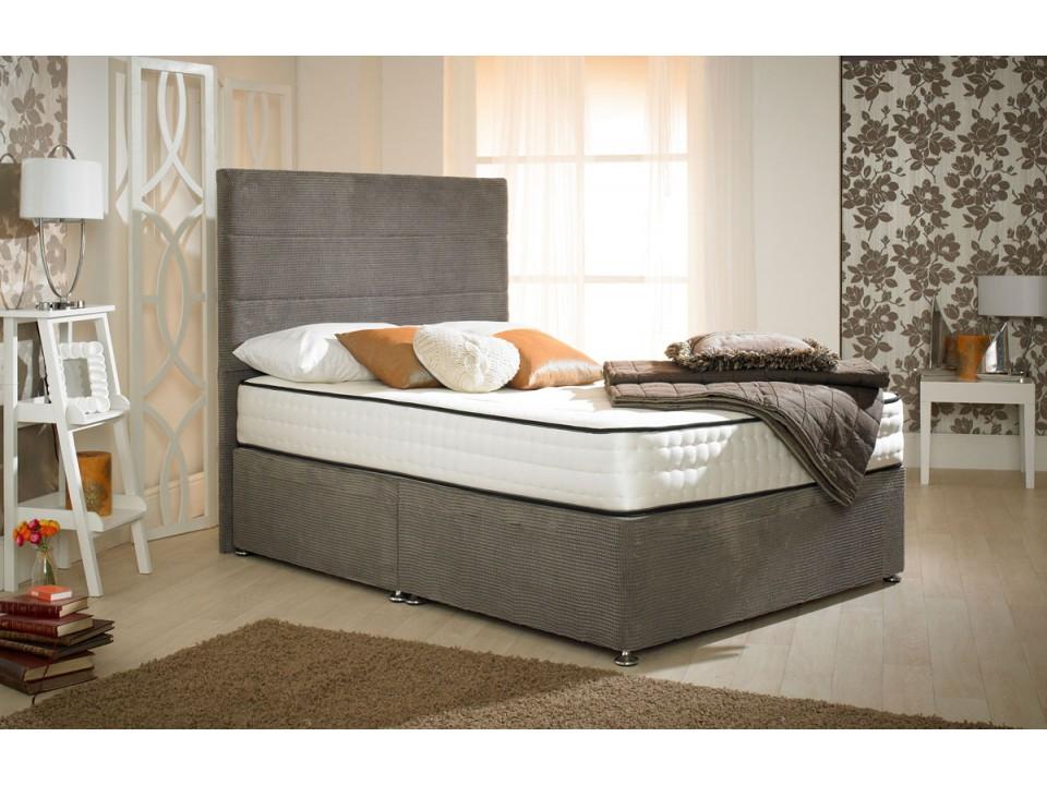 Style divan bed ocean brown 1500 pocket spring memory foam for Divan type bed
