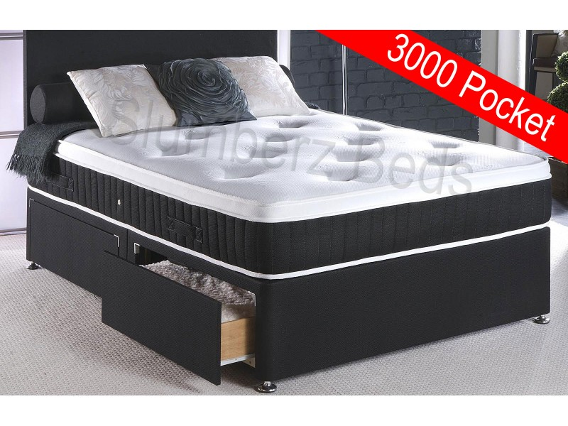 Connoisseur collection luxury divan bed with 3000 pocket for Small double divan bed with memory foam mattress