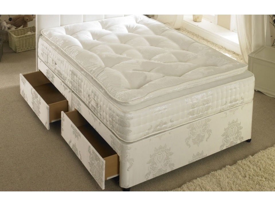 Pocket Sprung 1500 Divan Bed And Memory Foam Pillow Top Mattress Set