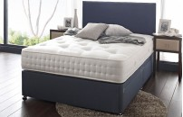1500 Pocket Blue Faux Suede Divan and Memory Foam Mattress Limited Offer