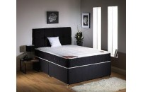 "Exclusive Black Double Pocket Sprung 10"" Memory Foam Divan Set"
