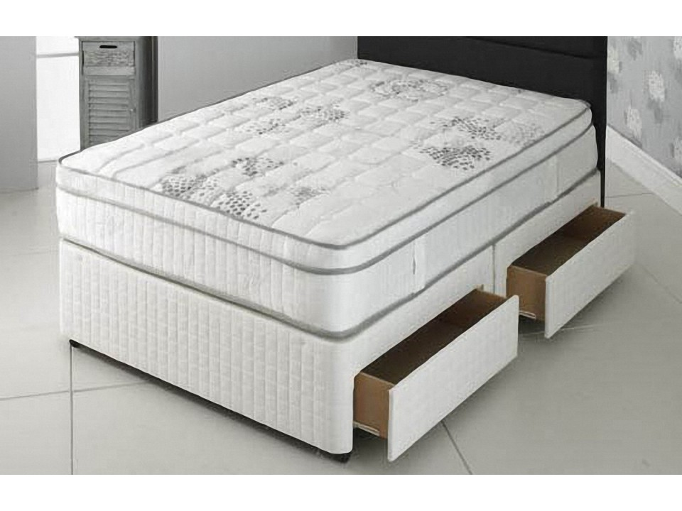 Double size 1500 pocket divan and pillow top memory foam for Double divan size