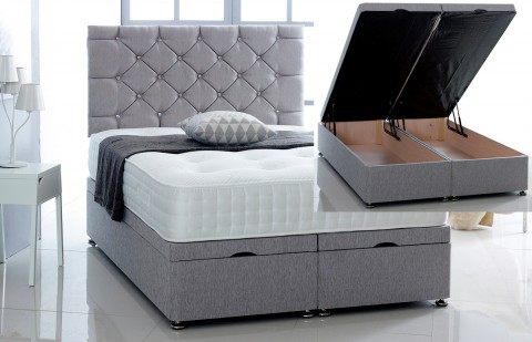 Alexis Ottoman Storage Divan Base and Headboard in Chenille Free Delivery