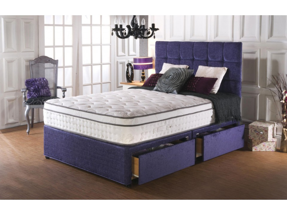 Premier 2000 pocket pillow top divan bed and cool memory for Divan bed with memory foam mattress