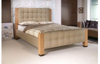 Fulvia Oatmeal Fabric and Oak Bed