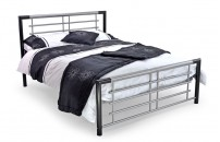 *NEW* Avante Black Silver Metal Bedframe