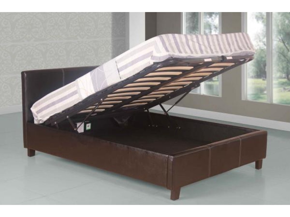 villard faux leather ottoman storage bed