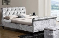 Wellington Crushed Velvet Sleigh Bed