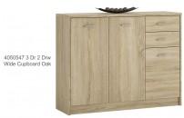 4050547 3 Door 2 Drawer Wide Cupboard Oak