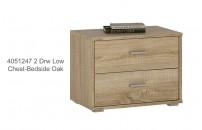 4051247 2 Drawer Low Chest Bedside Oak