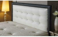 Border Buttoned Faux Leather Headboard