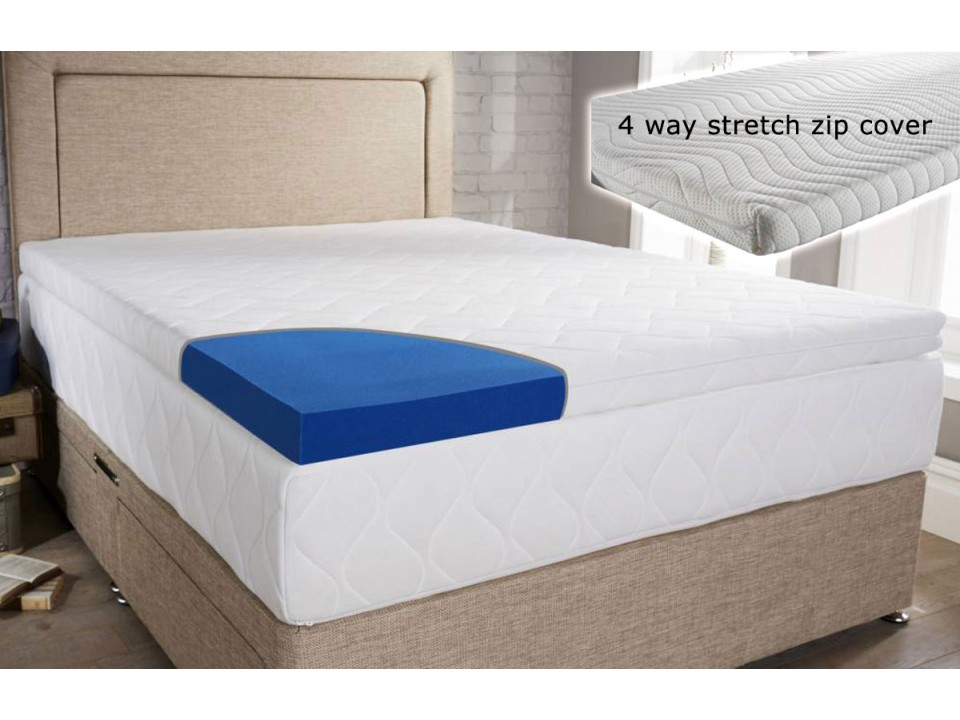 blue cool laygel foam mattress topper with cover. Black Bedroom Furniture Sets. Home Design Ideas