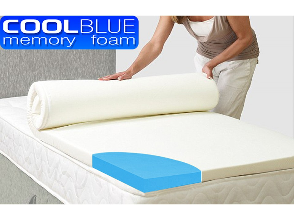 cool blue memory foam mattress topper with cover. Black Bedroom Furniture Sets. Home Design Ideas