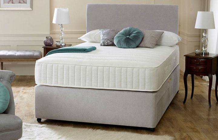Fabric divan memory foam with headboard for Divan bed quick delivery