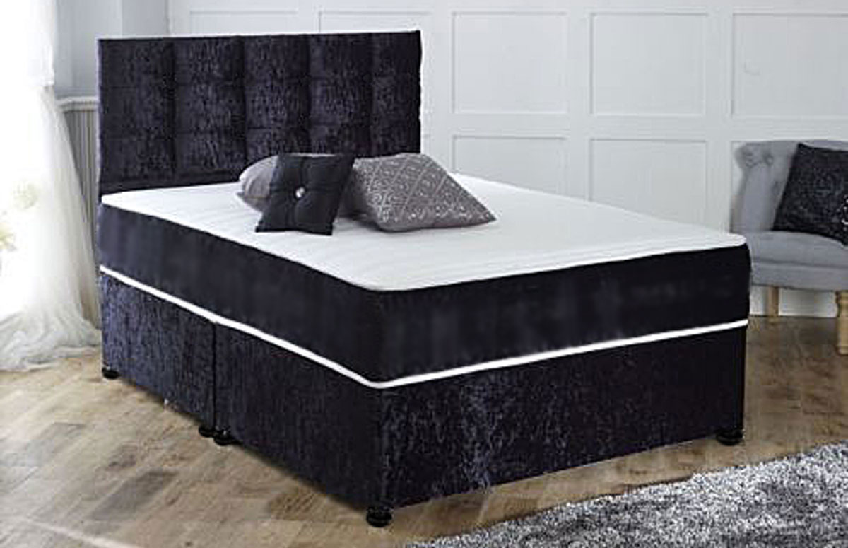 Coil sprung crushed velvet orthopaedic divan bed with for Single divan beds with mattress and headboard