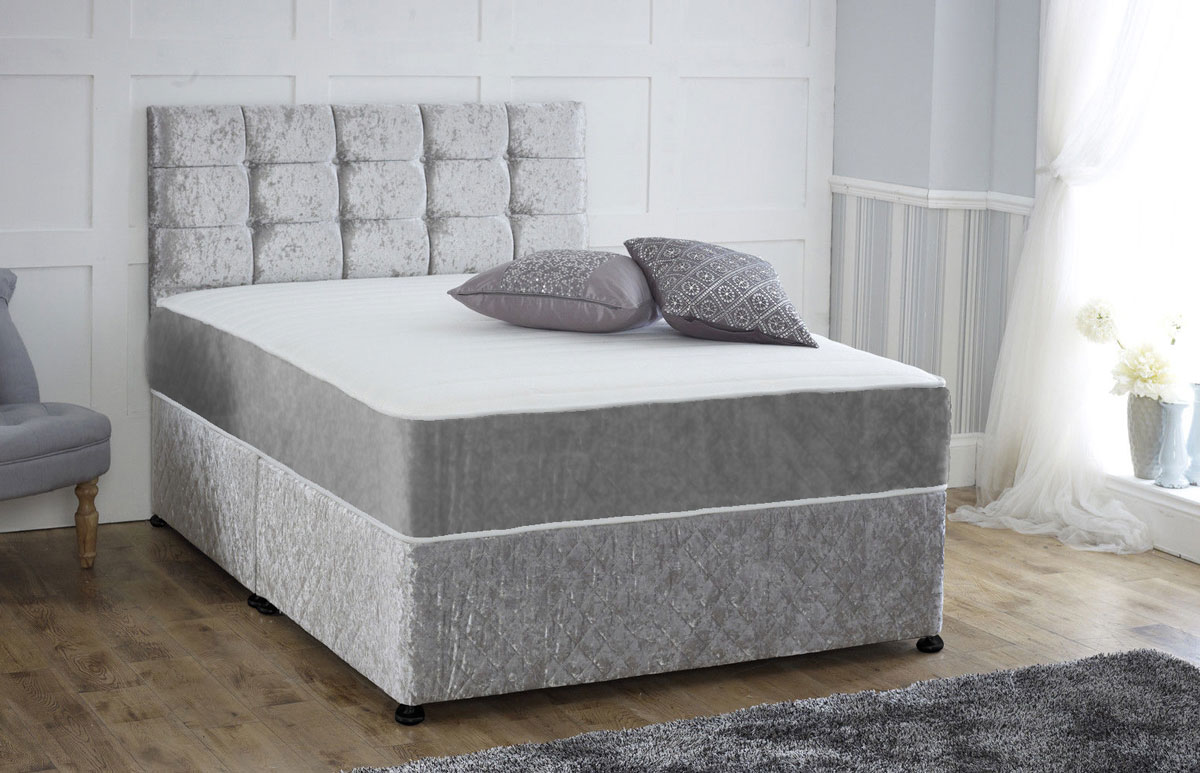 Coil sprung crushed velvet orthopaedic divan bed with for Small double divan bed with headboard