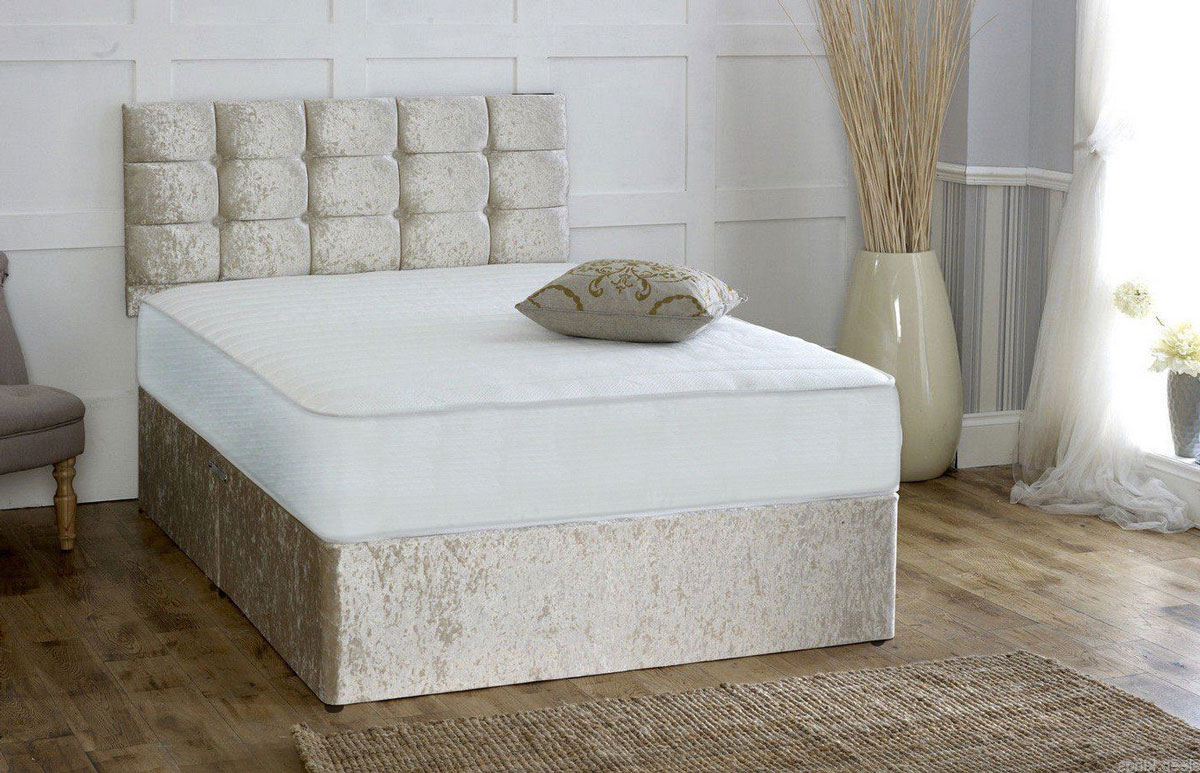 Pocket sprung memory foam crushed velvet divan bed with for Divan bed sets with headboard