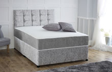 Div01Q Crushed Velvet Memory Foam Divan Bed With Free Headboard Silver