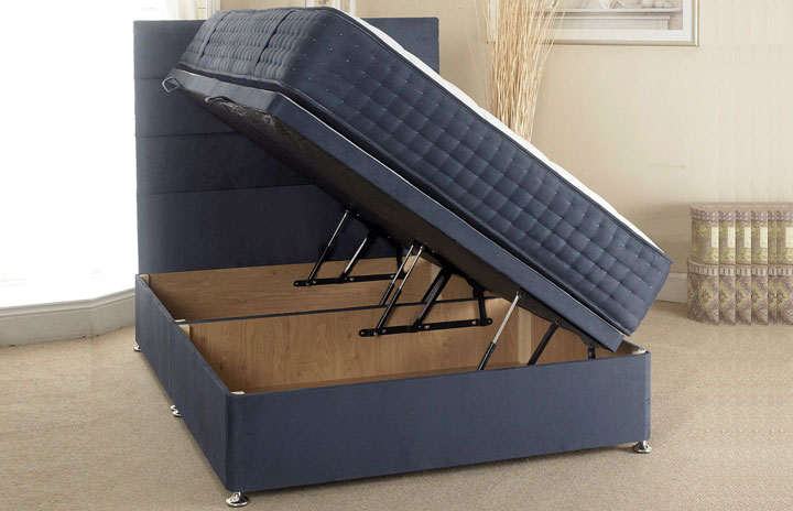 Ottoman storage bed in faux suede fabric