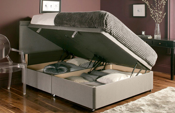 Ottoman-Chenille Ottoman Storage Bed In Chenille Fabric 1