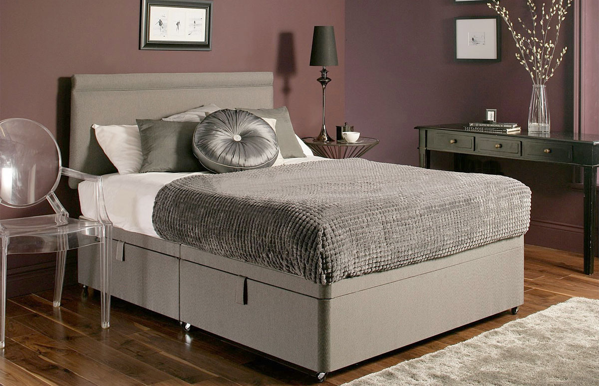Ottoman Storage Bed In Chenille Fabric Ottoman-Chenille 3. - NEW* Chenille Ottoman Storage Divan Base With 7 Colour Options