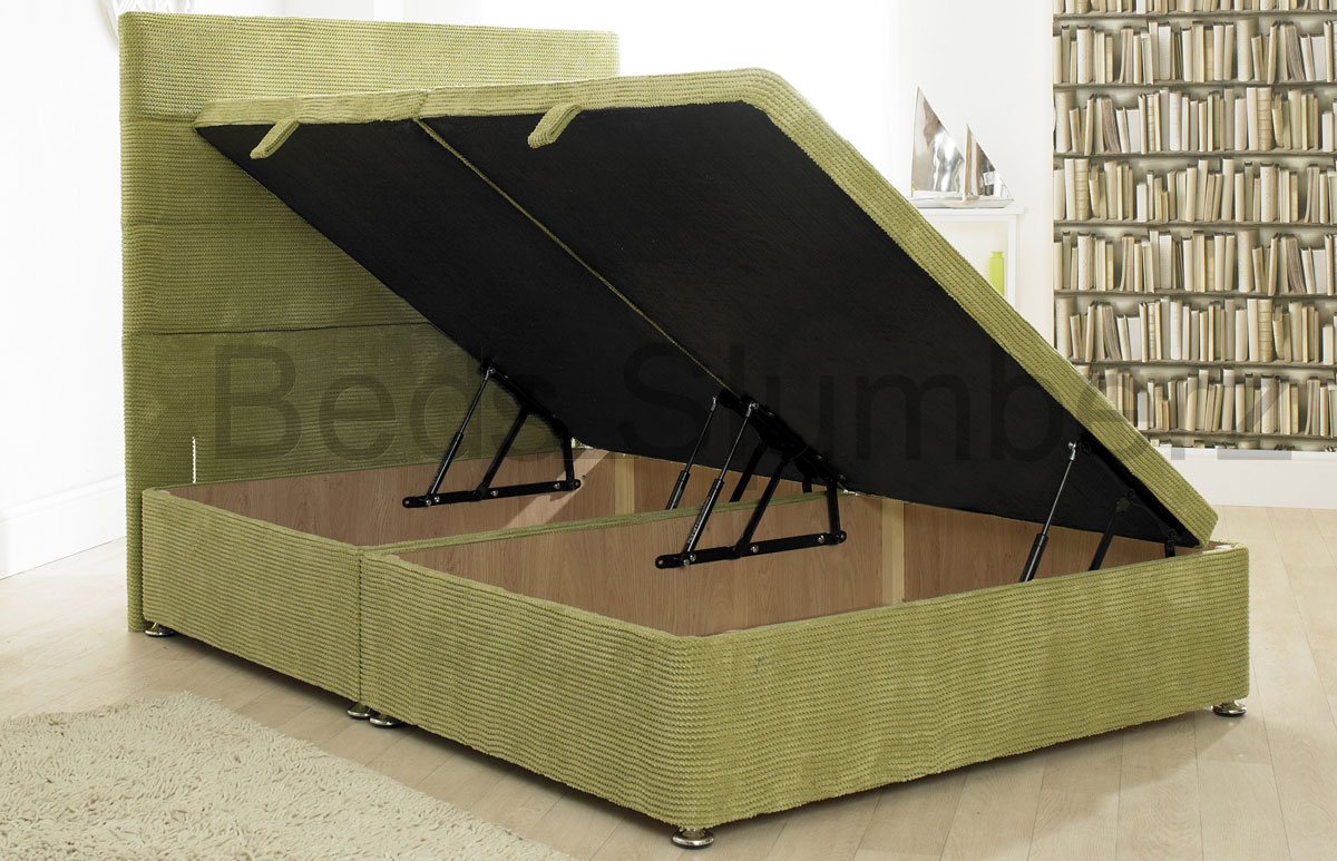 Ottoman Storage Divan Base With 10 Ribbed Colour Options