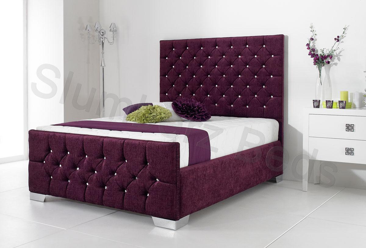 High Footend Chenille Frame Acapella Aubergine. NEW  Acapella Fabric Designer Bed