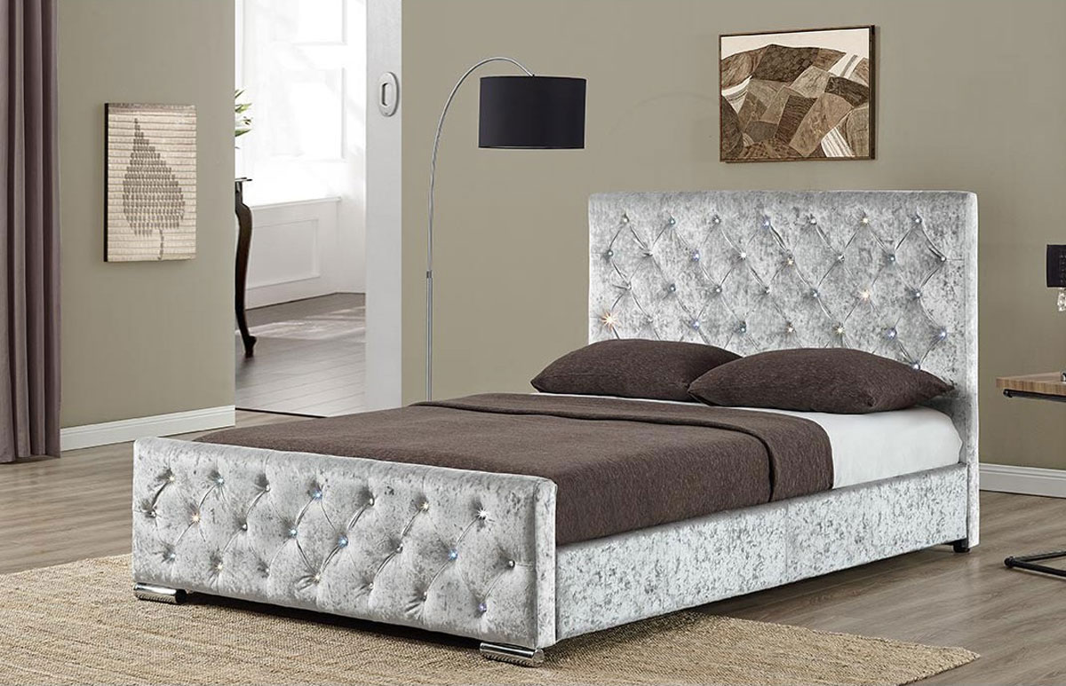 New Berkeley Crushed Velvet Fabric Bed